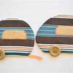 Retro coaster pair, Caravan mug rugs, gift for him