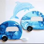 Dolphin coasters, drink mat pair, caravan mug rugs, retirement gift