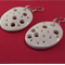 Porcelain earrings, white gloss punched hole design
