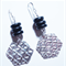Fine silver textured hexagon with black glass rondel beads