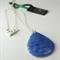 Translucent blue porcelain drop with white gold lustre design, .925 chain/clasp