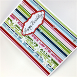 Birthday Card - Blue, Green, Red and Pink Stripes with die cuts