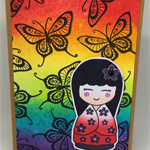 Rainbow Geisha Butterfly Hand-coloured C6 card