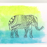 Boho Henna Elephant Watercolour Handmade C6 card