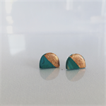 MINI MARBLEOUS {Dreamy Green} w/ Copper Crest Half Moon - Studs