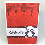 Asian Panda 'Celebrate' Handmade C6 Card