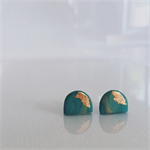 MINI MARBLEOUS {Dreamy Green} w/ Copper Accent Half Moon - Studs