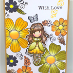 Gorjuss 70s-Inspired Floral 'With Love' Hand-coloured C6 card