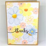 Pastel Retro Floral 'Thanks' Hand-stamped C6 card