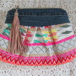 Womens Clutch - Boho Style with Recycled Denim Accents