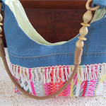 Women's Shoulder Bag - Boho style with recycled denim accents and fringing