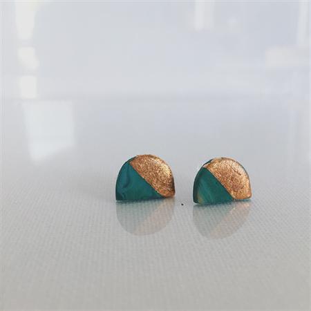 MINI MARBLEOUS {Dreamy Green} w/ Copper Crest Half Moon - Studs