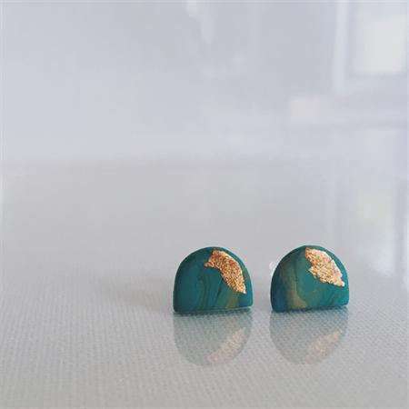 MINI MARBLEOUS {Dreamy Green} w/ Copper Accent Half Moon - Studs