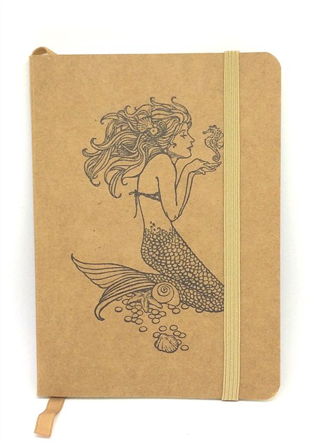 *DISCOUNTED* Mermaid Hand-Stamped Small Kraft Notebook