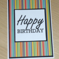 Male Happy Birthday card -  stripes