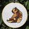 Embroidered Hoop Art - Geometric Brown Bear