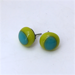 Burst of Colour Lemongrass and Turquoise Fused Glass Earrings