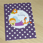 Girls Happy Birthday card -  fairy - purple