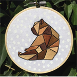 Embroidered Hoop Art - Geometric Brown Bear