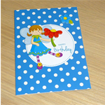 Girls Happy Birthday card -  fairy - blue