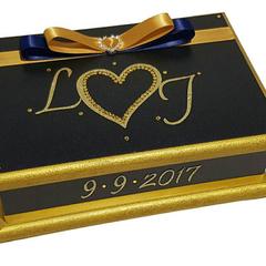 Navy & Gold Wedding Wishes Keepsake Trinket Jewellery Memory Wooden Box
