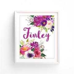 Girl Custom name, Monogram, Plum Floral Purple Baby Nursery Printabl