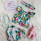 Amiee flutter crop top and matching nappy cover set. Size 0.