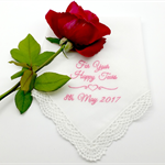 'For Your Happy Tears' Embroidered on a White Lace Edged Wedding Hanky