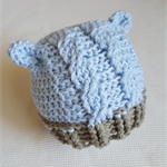 Cabled Baby Bear Hat 0-3 mths