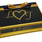 Navy & Gold Wedding Wishes Keepsake Trinket Jewellery Memory Wooden Box