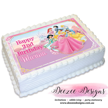 Disney Princess Personalised A4 Edible Icing Cake Topper