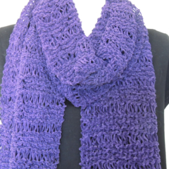 Hand knitted chenille scarf. Winter scarf. Purple scarf.