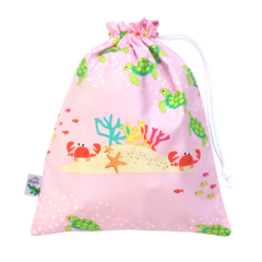 Small Wet Bag / Bikini Bag. Crabs & Turtles Swim bag for Pool & Beach.