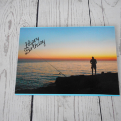 Card, birthday, male with a fisherman at sunset.