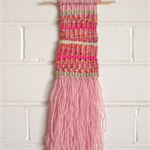 Weaved Wall Hanging, Pink, Purple, Orange, Red, Cream and Gold