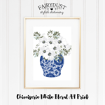Chinoiserie Vase with White Flowers A4 Print