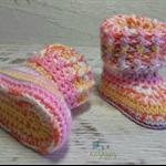 Multi coloured Newborn Crochet Baby Booties