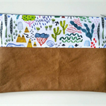 Wilderness with Tan Pleather Nappy Diaper Carry All Clutch Pouch Wallet