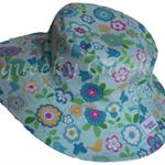 Toddler Hat ~ Blue Floral ~ 48cm - Wide Brim