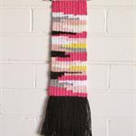 Weaved Wall Hanging, Pink, White, Peach, Grey, Yellow, Cream and Black