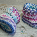 Multi coloured Crochet Baby Booties