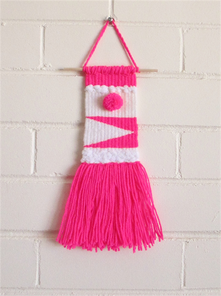Weaved Wall Hanging, Fluoro Pink and White with Pom-Pom