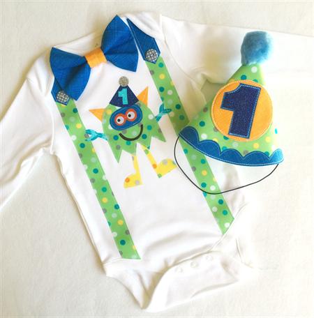 1st Birthday Monster Theme Onesie Boys Bow Tie and Suspenders