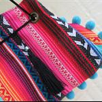 Womens Wristlet - Boho style with Pom Pom Trim