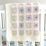 Crochet blanket, wool, white, bedding, pink, purple, mint, newborn gift