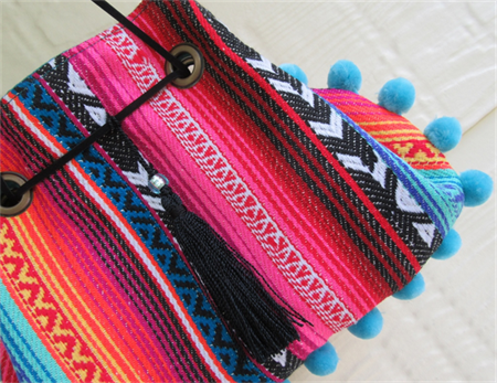 Womens Wristlet - Boho style with Pom Pom Trim