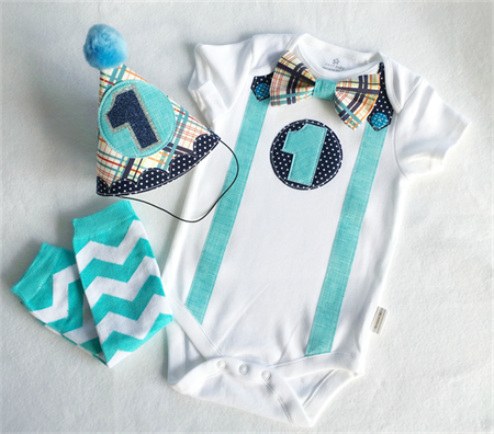 Teal an Navy 1st Birthday Outfit for Boys First Birthday