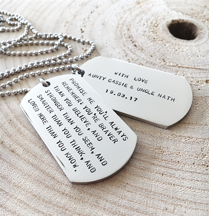 dog tag necklace inspirational quote necklace hand stamped