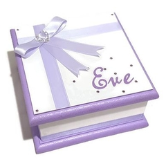 Little Purple & White  Keepsake Trinket Treasure Jewellery Memory Wooden Box