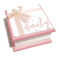 Little White & Pink Keepsake Trinket Treasure Jewellery Memory Wooden Box